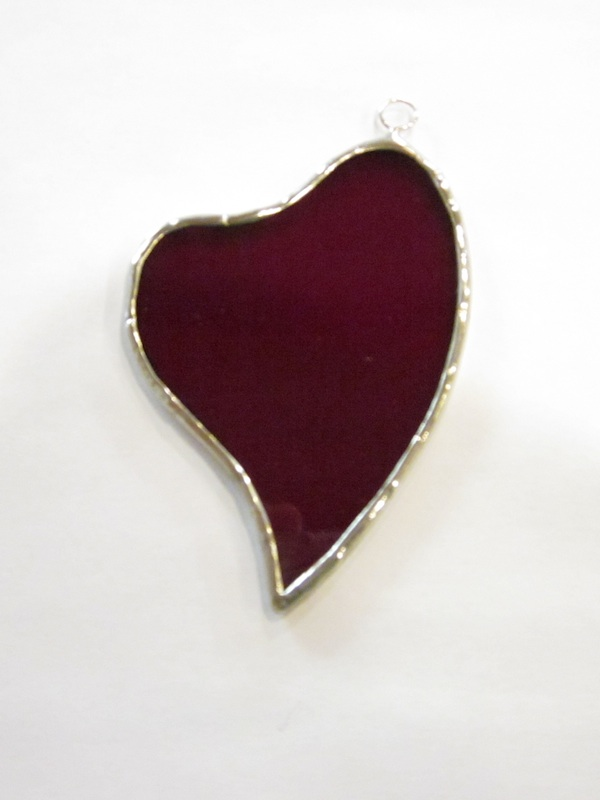 Red Heart Ornament - Stained Glass - Lee Klade