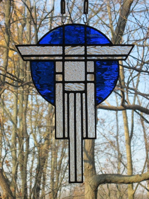 Prairie Warrior (clear & blue) - Stained Glass - Lee Klade